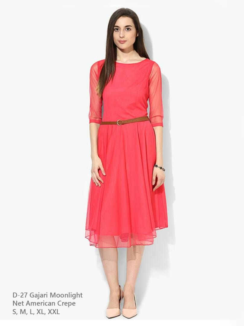 ae83e90d6b7f Net American Crepe Women Gajari Moonlight Dress(with Belt)