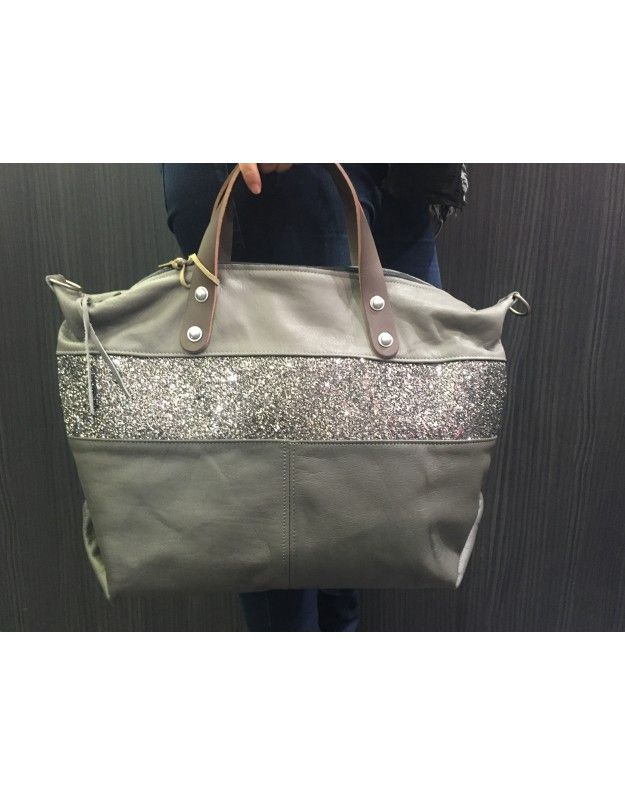 717f4620b2a ESTELLON SAC LUCKY NIGHT GREY. L 48 H 30 P 15cm   Leather works ...