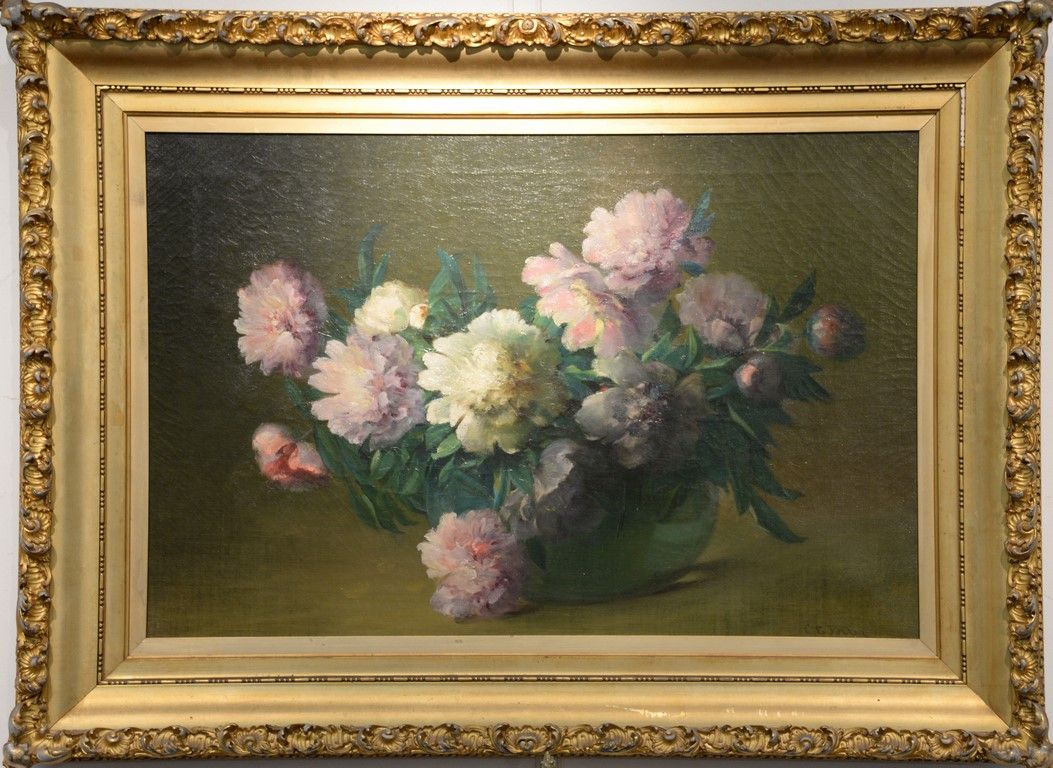 """CHARLES ETHAN PORTER (1847-1923)  Peonies  oil on canvas  signed lower right C. E. Porter  26"""" x 36""""  Included Documentation:  Original letters from Vernon Historical Society for this painting to be on loan from September 29, 1989 through November 1, 1989, and exhibited October 6-28.,  Exhibited:  Pictured in color in The Connecticut Gallery, Charles Ethan Porter catalogue book, page 99, plate XXI  Estimate: $20,000 - $40,000"""