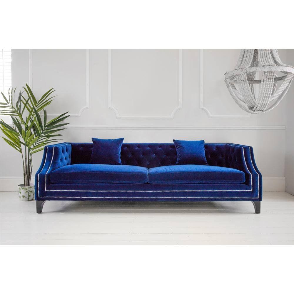Imperial Blue Velvet Sofa Luxurious 2 Seater Sofa Interior Design In 2019 Bedroom Sofa Blue Velvet Sofa French Sofa