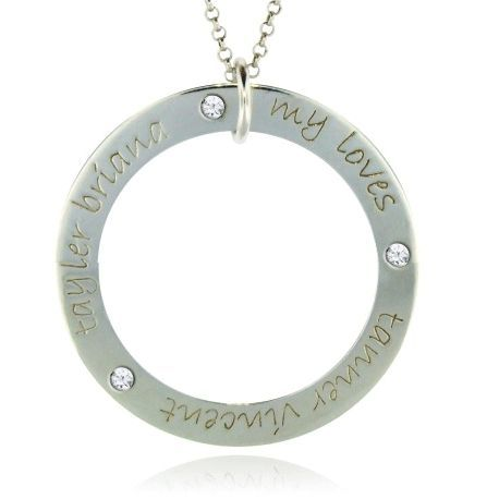 Three Name Forever Loop Necklace for Mom