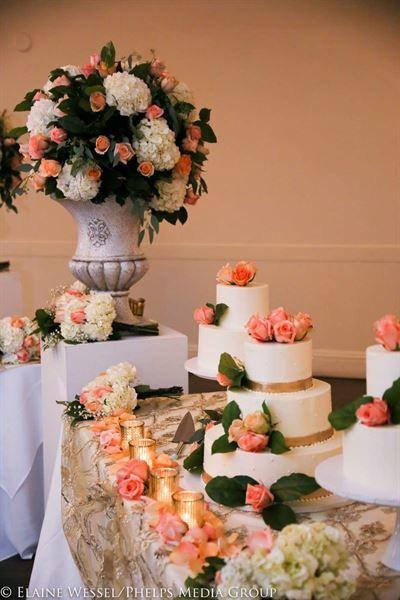 White Wedding Cakes With Gold Trim Wellington National Golf Club