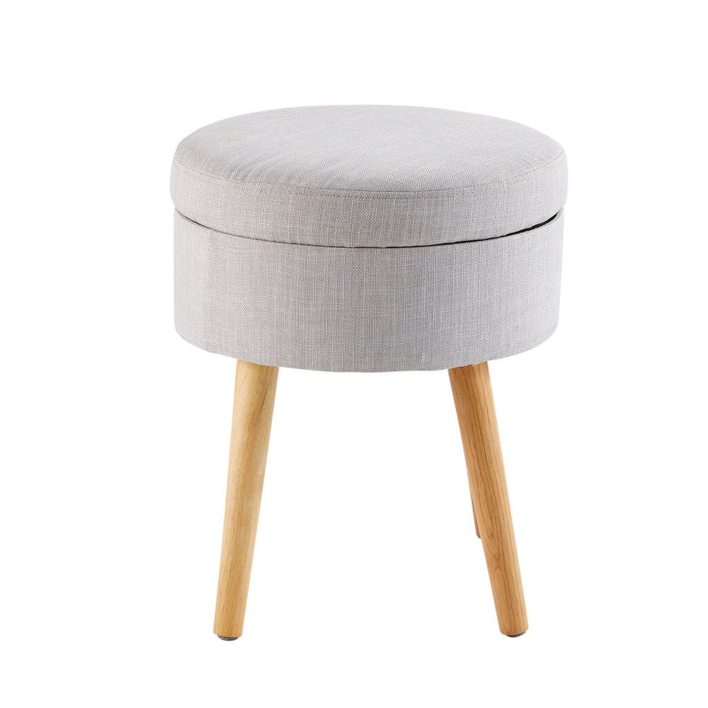 Light Grey Storage Stool With Rubber Wood Legs Maisons Du Monde Storage Stool Grey Storage Leather Dining Room Chairs