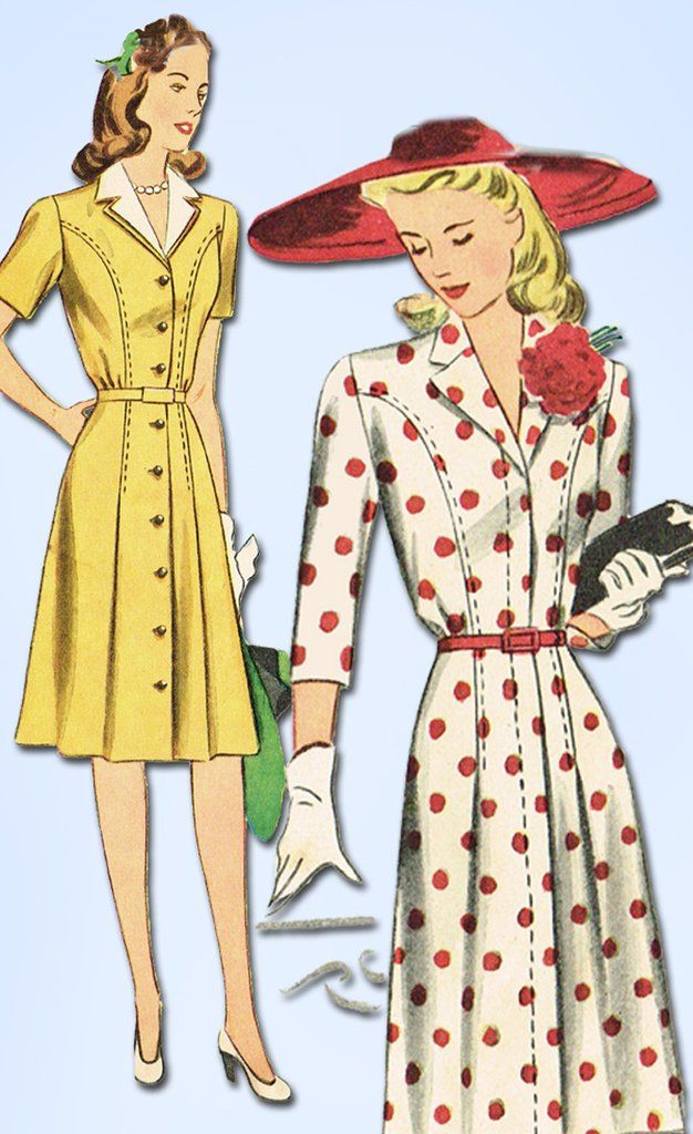1940s Vintage Simplicity Sewing Pattern 4650 Misses WWII Dress ...