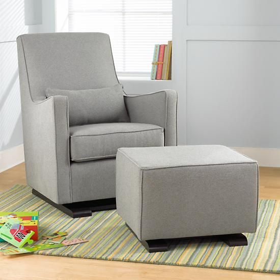 The Land Of Nod Nursery Gliders Heather Grey Upholstered Monte Luca Glider And Ottoman