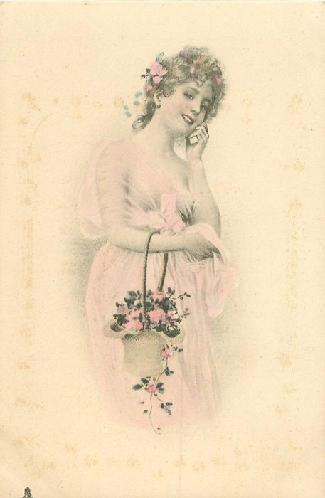 woman with a basket of flowers hanging from her right forearm, her left hand to her ear facing half right