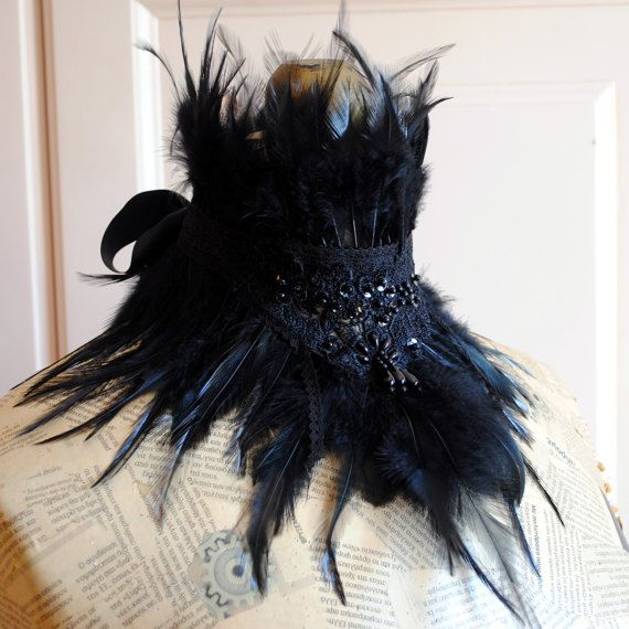 Black Gothic Feather Collar with Lace and Beads