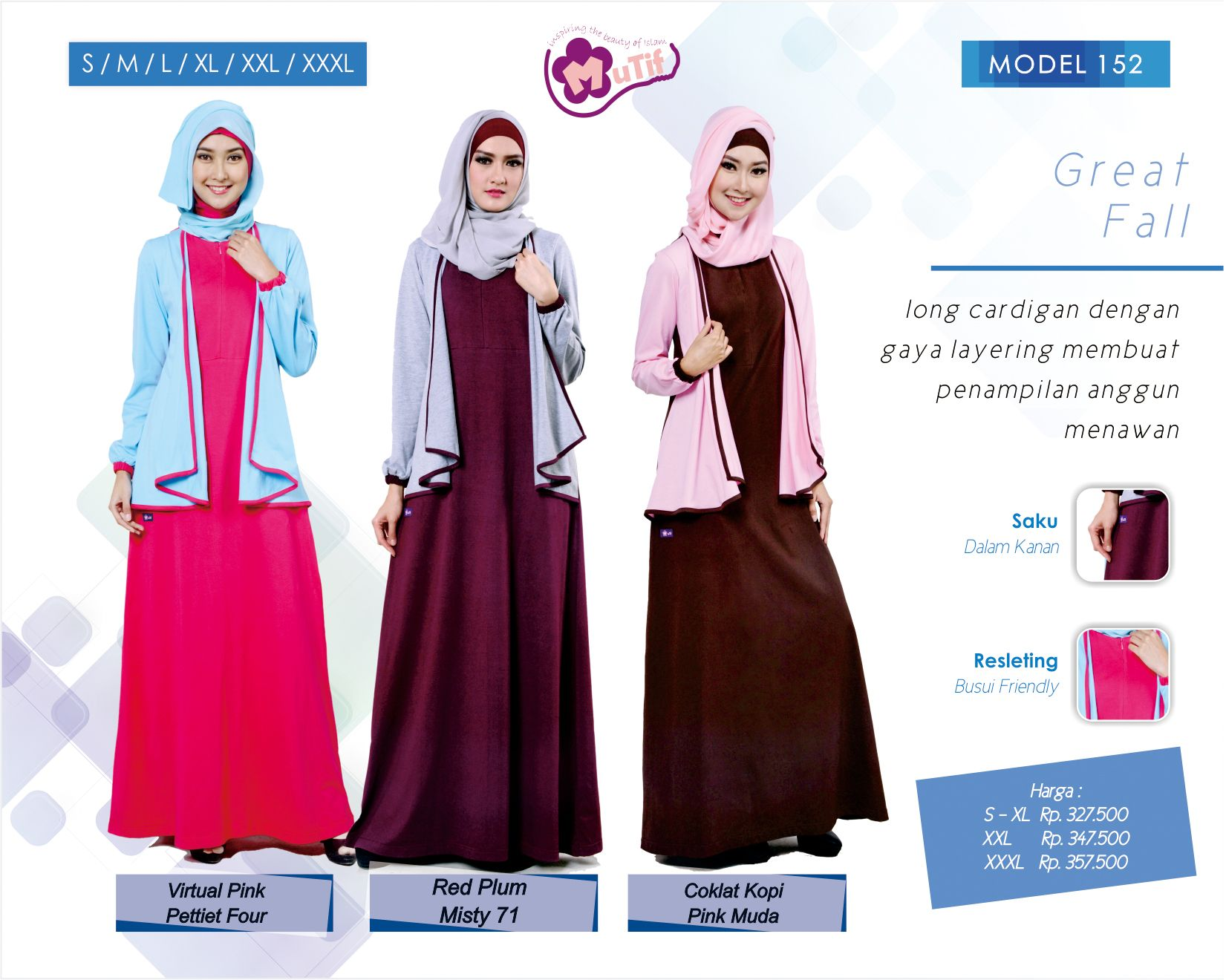 37 Ide Gamis Mutif Model Saku Gaun Formal Panjang