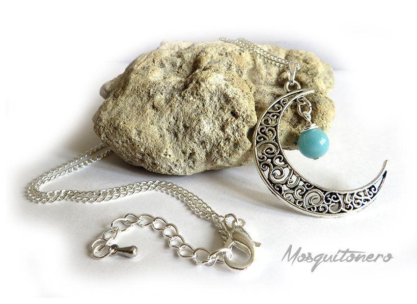 Collana da donna con Luna e perla di Amazzonite, by Mosquitonero Shop, 9,90 € su misshobby.com