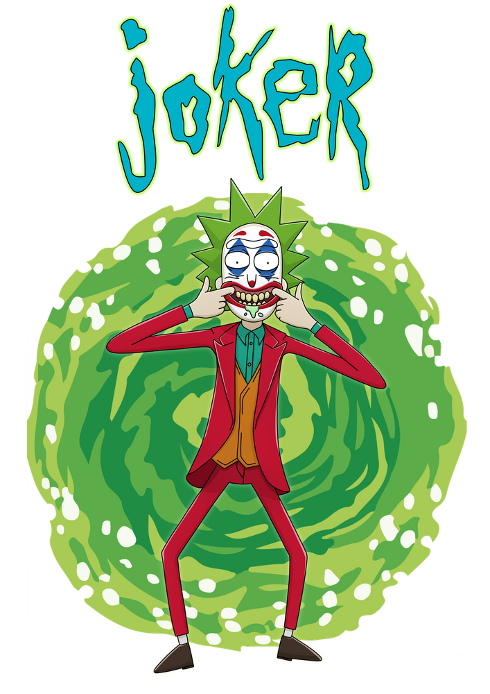 Rick Joker All Over Graphic Tee By Trip Design Studio Large In 2020 Rick And Morty Poster Rick And Morty Tattoo Joker Artwork