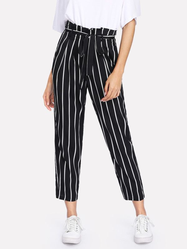 8238f2f517 Self Belt Striped Pants -SheIn(Sheinside) | euu in 2019