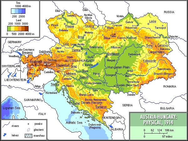 AustriaHungary Physical Map MAPS Pinterest Wwi - Physical map of austria