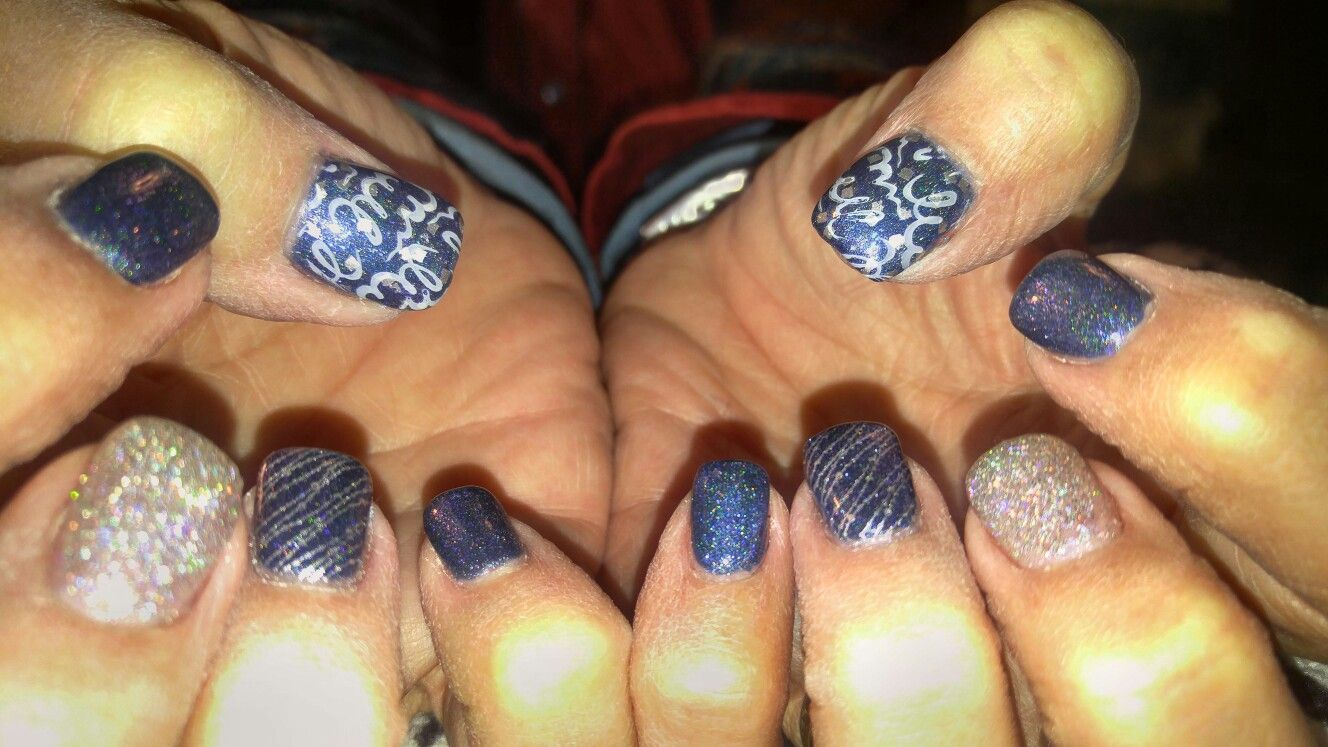 New Year\'s Eve nail design! Acrylic nails with stamped nail art and ...