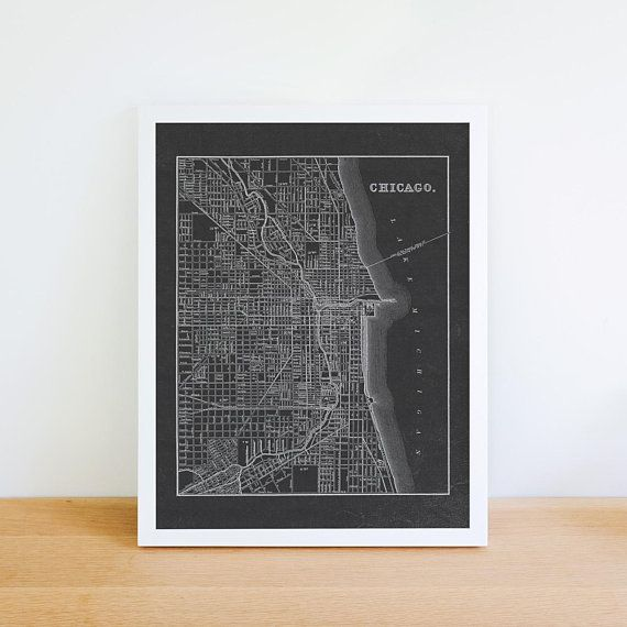 Chicago Map Canvas.Chicago Map Print Chicago Wall Art Chicago Canvas Art Vintage
