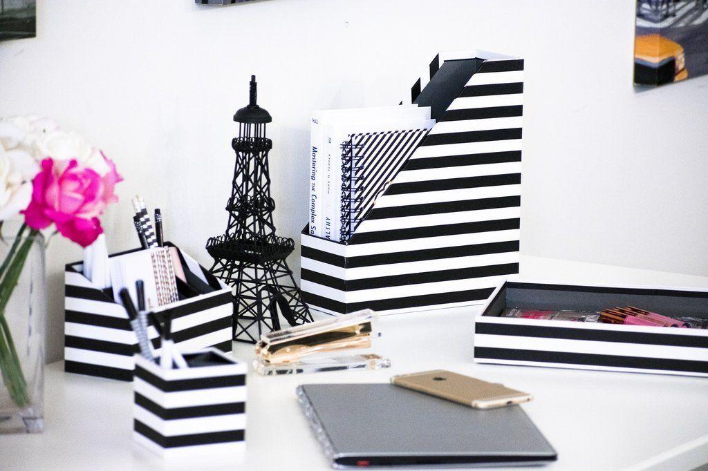 Blu Monaco Desk Black White Desk Accessories Organizer Set 4 Pcs