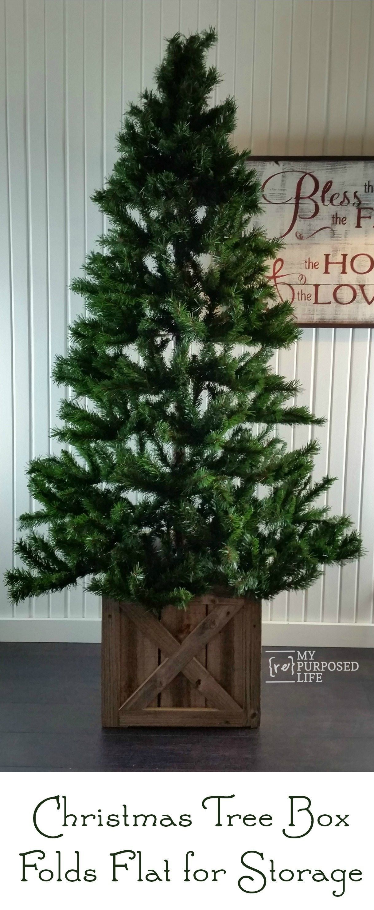 Christmas Tree Stand Box Folds Flat For Storage My Repurposed Life Rescue Re Imagine Repeat Christmas Tree Stand Diy Christmas Tree Box Stand Christmas Tree Base