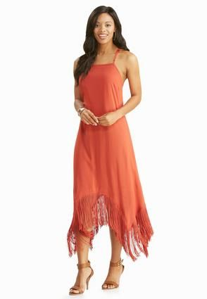 1c69e2187d1d Cato Fashions Fringe Sharkbite Hem Dress #CatoFashions | Summer ...