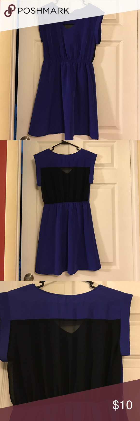 Blue Casual Dress Blue casual dress with mess back piece. Would be paired great with a belt (did not come with one). Worn once, no tags. one clothing Dresses