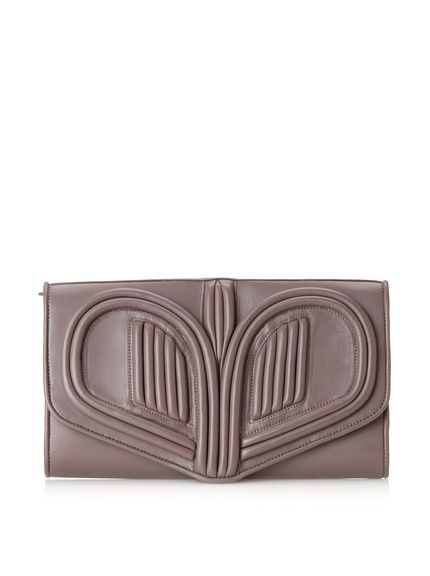 "Bracher Emden Women's Heart Clutch in taupe ($239 from $629!)Oversize design in soft, supple leather with piping detail, interior features 2 compartments with zip pocket divider Closure: Magnetic Snap Country of origin: Thailand Material: Leather Lining: Twill Item Dimensions: height 7"", width 12.5"", depth 1.5"""