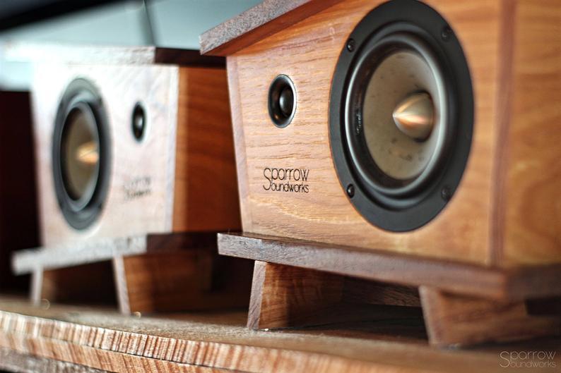 Handmade Black Walnut Hickory Wood Bookshelf Speakers Pair Etsy In 2020 Wood Bookshelves Bookshelf Speakers Diy Hickory Wood