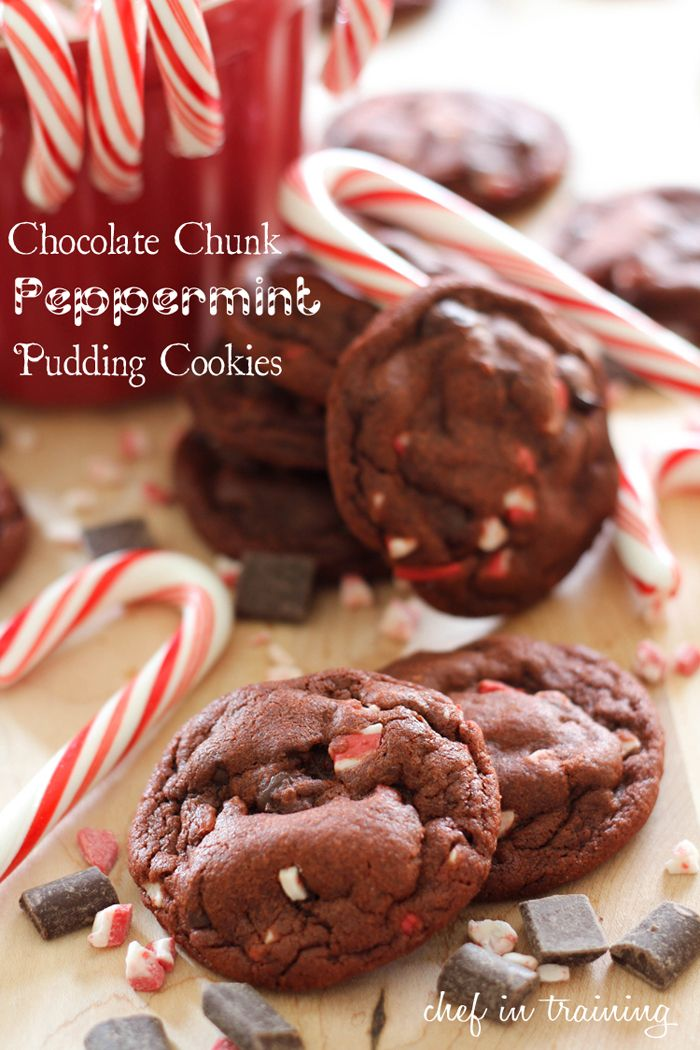 Chocolate chunk peppermint pudding cookies -so soft and tastes AMAZING!