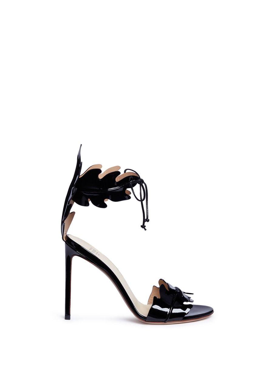 6aa92f48365253 FRANCESCO RUSSO Leaf Cutout Patent Leather Sandals.  francescorusso  shoes   sandals
