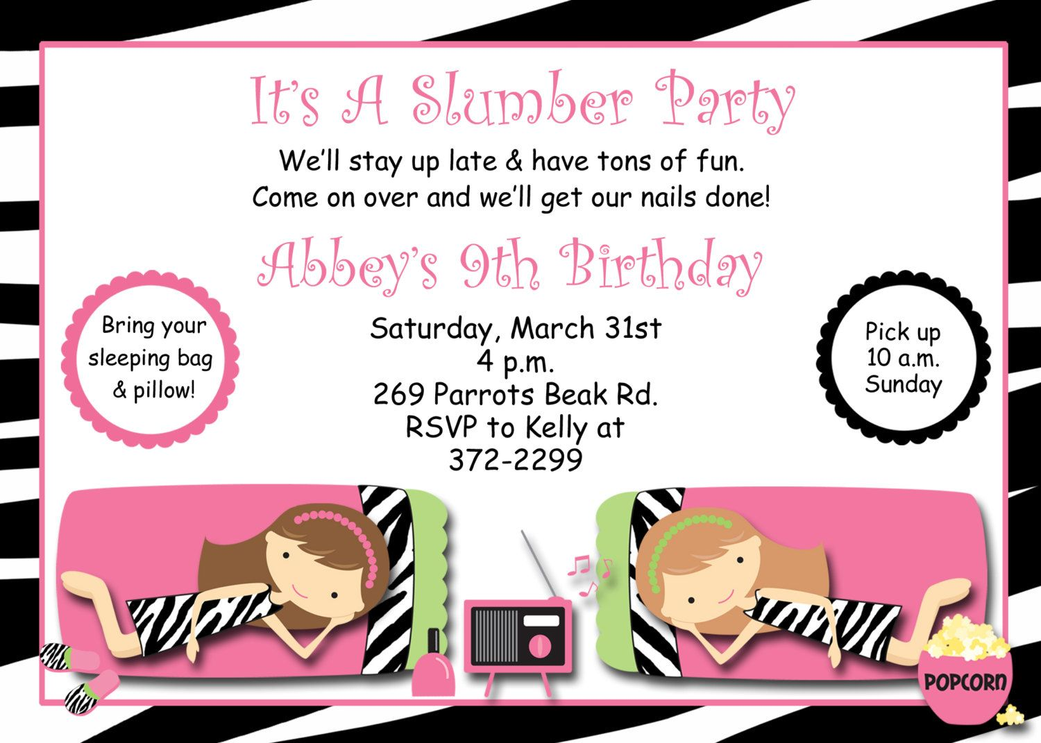 Free Printable Slumber Party Invitations Templates | Spa Sleepover ...