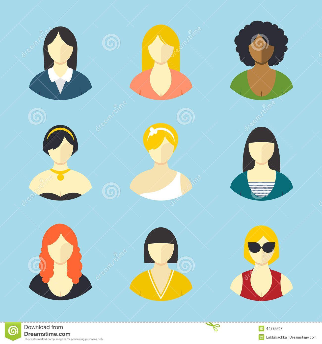 female-avatars-flat-design-vector-icons-set-44775507.jpg (1300×1390)