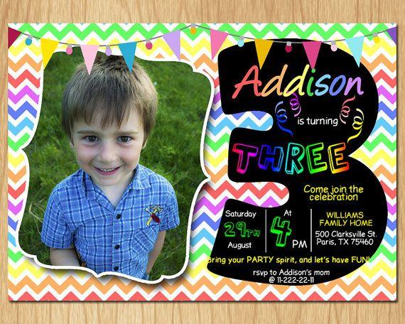 3rd Birthday Invitation Rainbow Chevron Pastel By DigitalBonanza