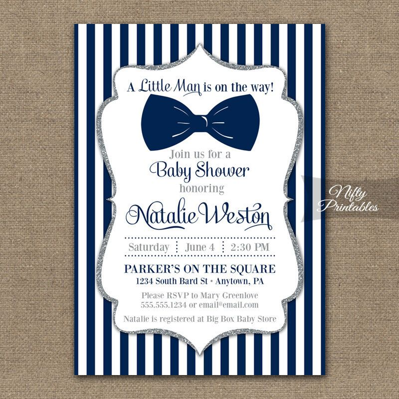 Bow Tie Baby Shower Invitations Printable Navy Blue Silver Invites