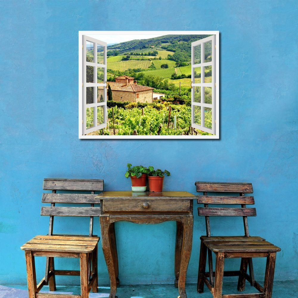 Vineyards Tuscany Italy French 3D Window Home Décor Gift Ideas 23035 ...