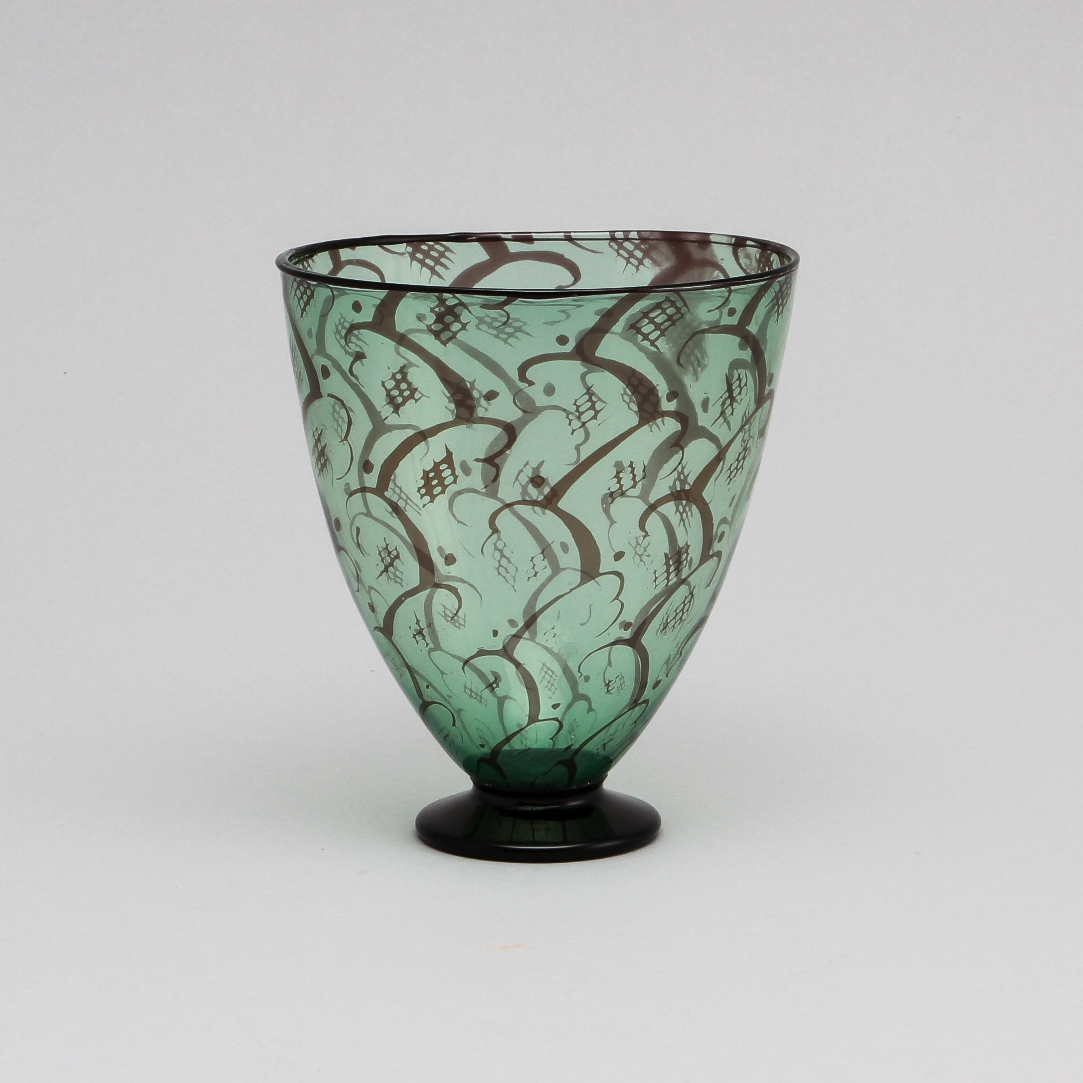 Handmade glass serving bowls with fireworks like textured glass details