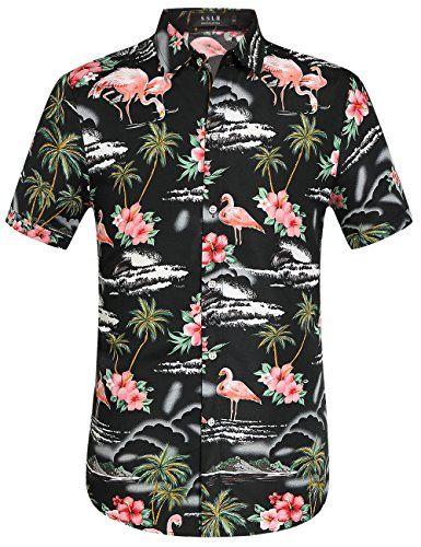 600d5f2571135 SSLR Men s Flowers Flamingos Casual Aloha Hawaiian Shirt (X-Large ...