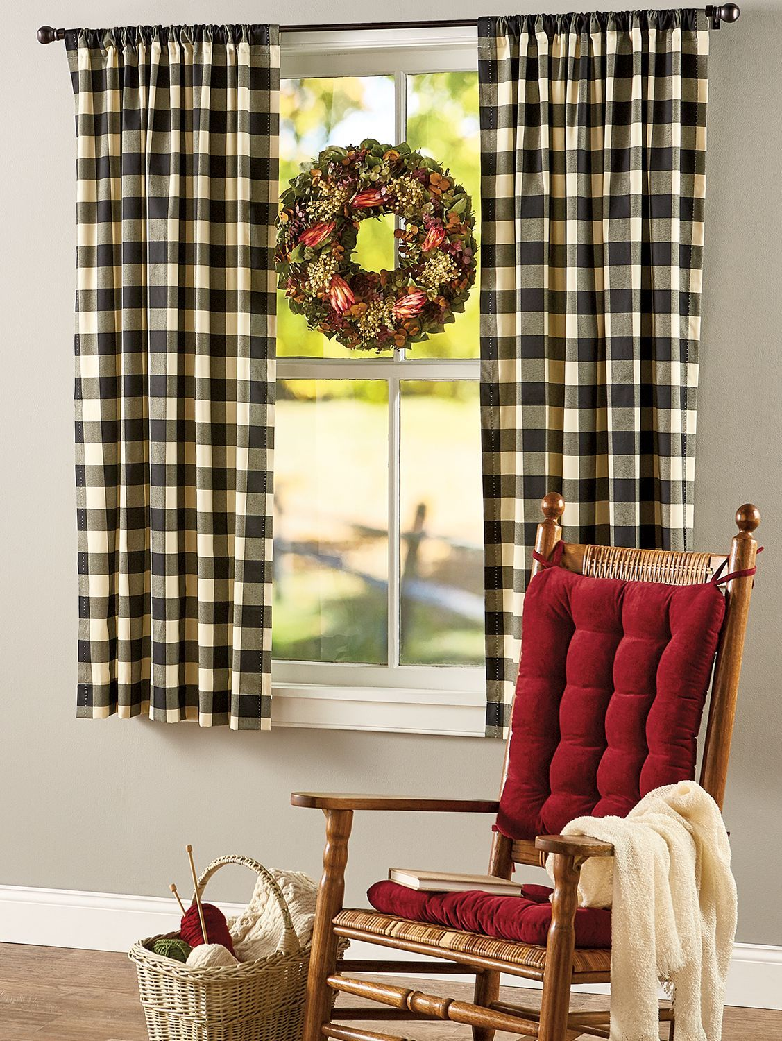 Buffalo Check Rod Pocket Curtains | Country kitchen ...