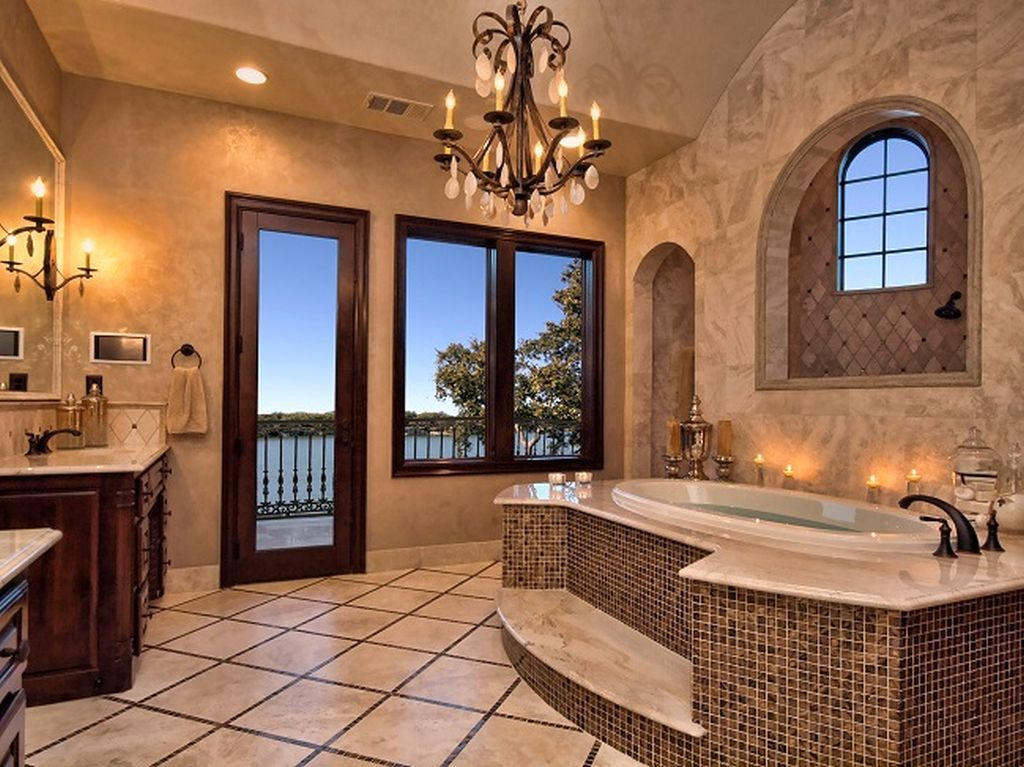 Lovely Modern Mansion Master Bathroom 29 Horseshoe Bay Mediterranean Lake House Bath Views By Zbranek Holt Custom Homes Austin And