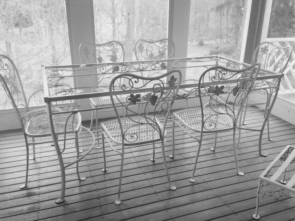 Vintage Wrought Iron Dining Set Table 6 Chairs Glass Top Salterini Woodard Patio Iron Patio Furniture Wrought Iron Table Wrought Iron Furniture