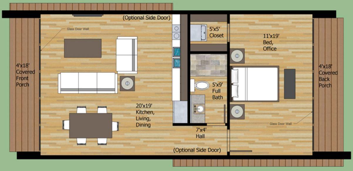 Plano De Casa De 1 Dormitorio | Planos de casas modernas | Casas ...