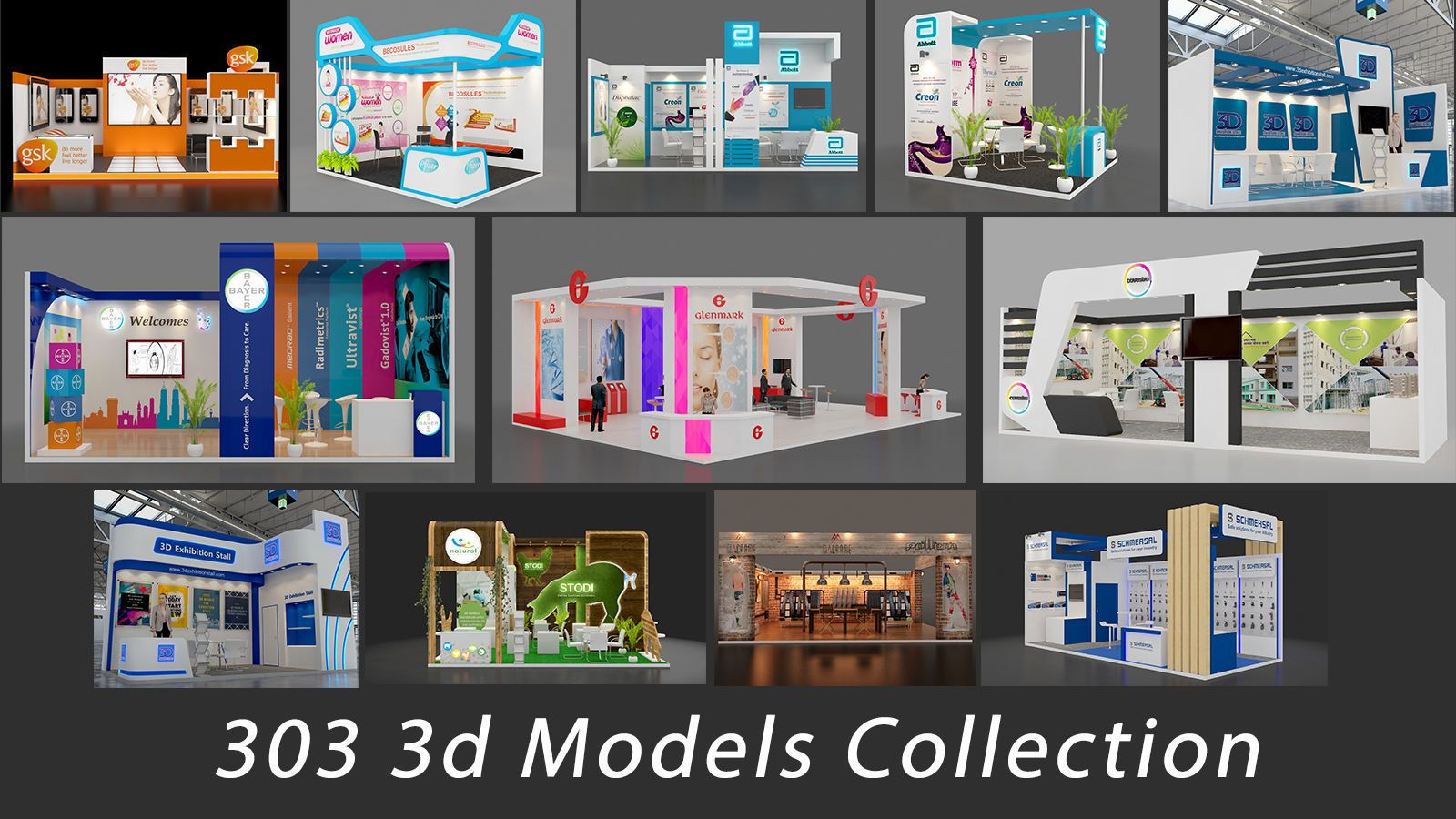 3d Exhibition Model : Exhibition stall collection d model exhibition stall model