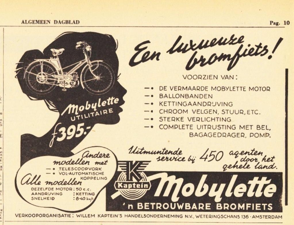 Photo of ≥ Mobylette Utility Moped Kaptein. Ausschnitt AD'54apr2 – Zeitschriften, Zeitungen und Zeitungsausschnitte – Marktplaats.nl