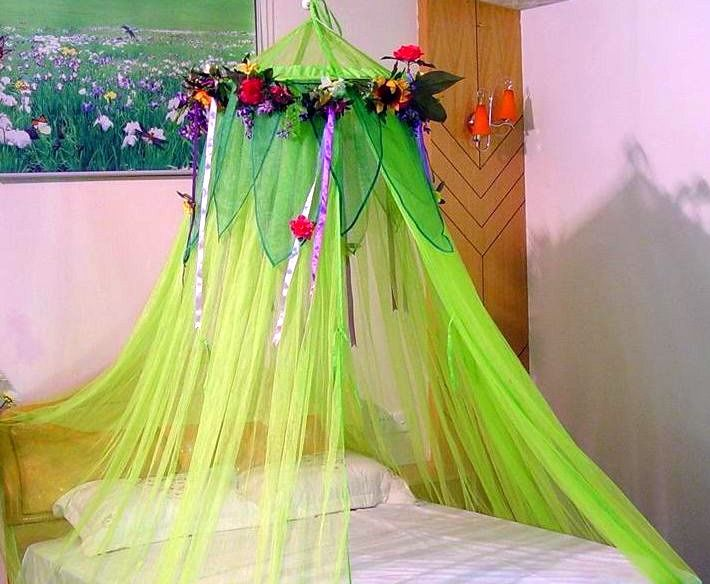 mosquito net bed canopy dyed with leaves flowers and ribbons attached & mosquito net bed canopy dyed with leaves flowers and ribbons ...