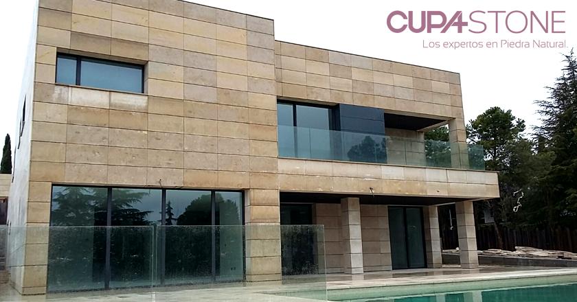Caliza camel cupa stone para una fachada ventilada en la moraleja cupastone caliza - Piedra caliza fachada ...