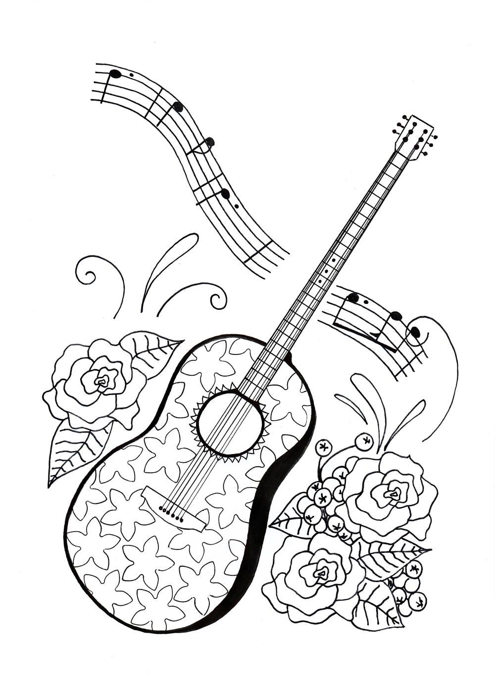 For the Love of Music Adult Coloring Page Doodle musings