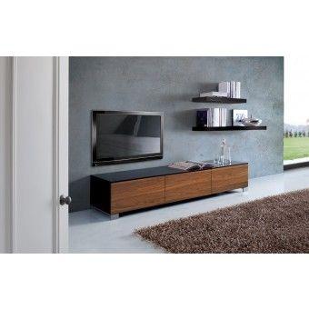 Tv Schränke Design lowboard walnuss schwarz tv schrank mit drei türen höhe 30 cm