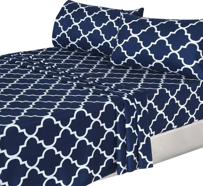 4 Piece Bed Sheets Set (Queen, Blue) Flat Sheet + Fitted Sheet +