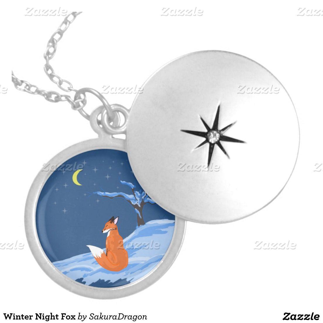 Winter Night Fox Round Pendant Necklace #fox #foxes #snow #moon #animals