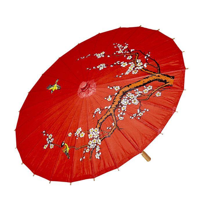 ROTER REISPAPIERSCHIRM Geisha Japan Asien Schirm Papierschirm Kostüm ...