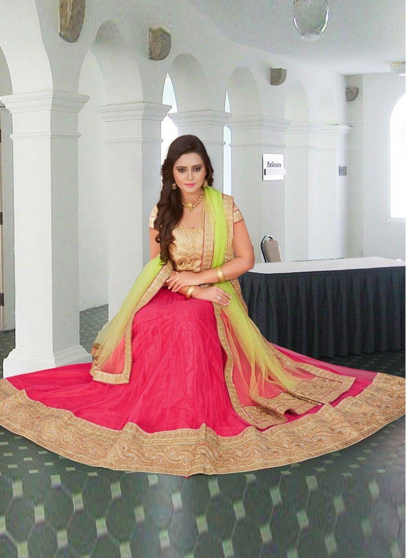 e97823f41a Lustre Hot Pink and Green Net Stylish Wedding lehenga choli ...