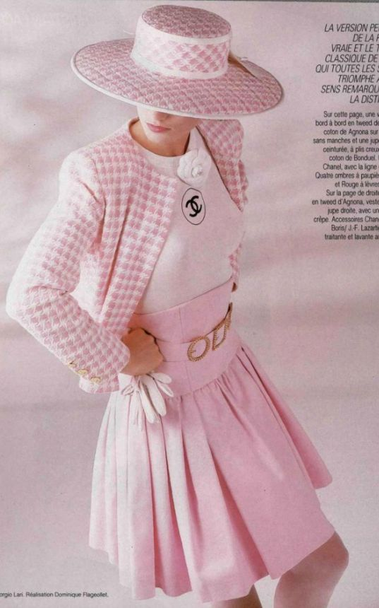 e036ea0997f2 Pink Luxury - Chanel 1988 pink check hat   skirt