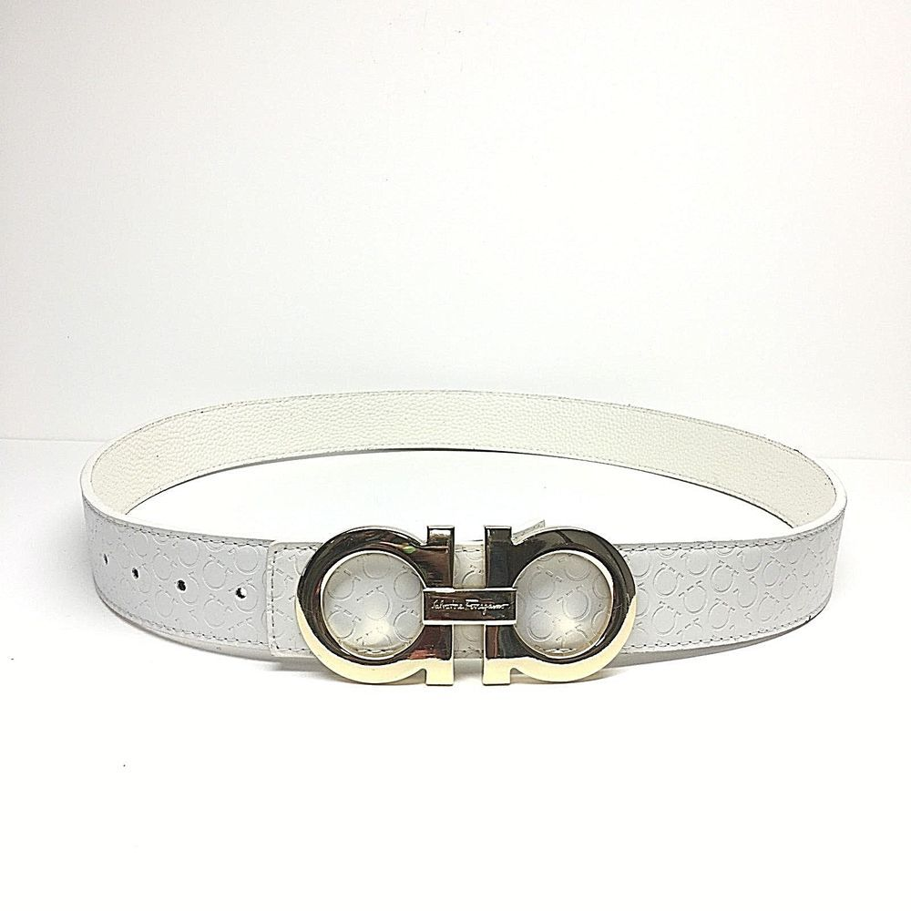 Salvatore Ferragamo | WHITE Belt | GOLD Buckle | Size 36 ...