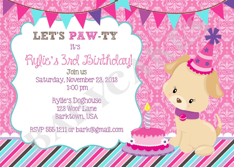 Puppy Birthday Invitation/puppy party/invite/girl puppy/ girl puppy ...